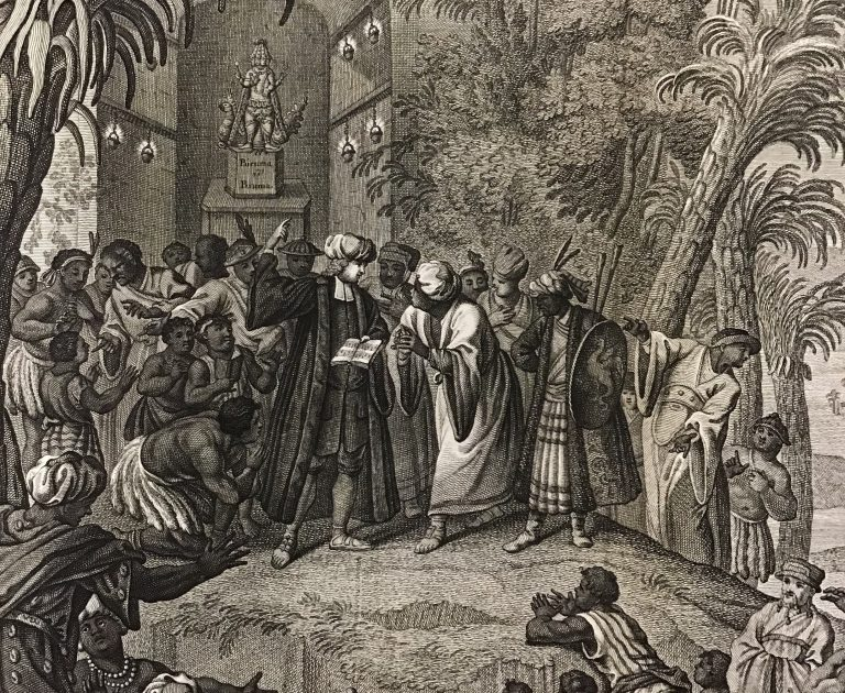 European missionary surrounded by palm trees speaking to indigenous people in a wide variety of dress. Engraving 1730.