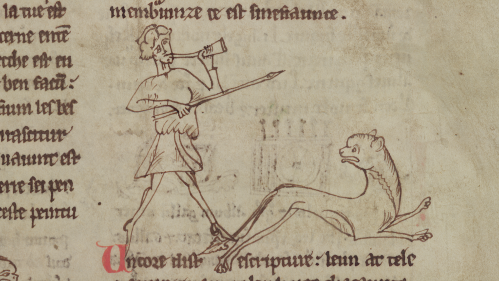 An illumination of a hunter chasing a lion in Merton College, MS 249, f. 2r.