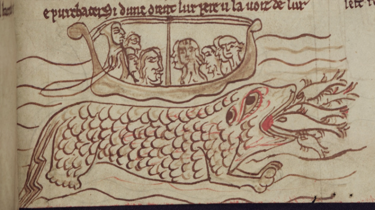 An illumination of the mythical cetus, in Merton College, MS 249, f. 8r.