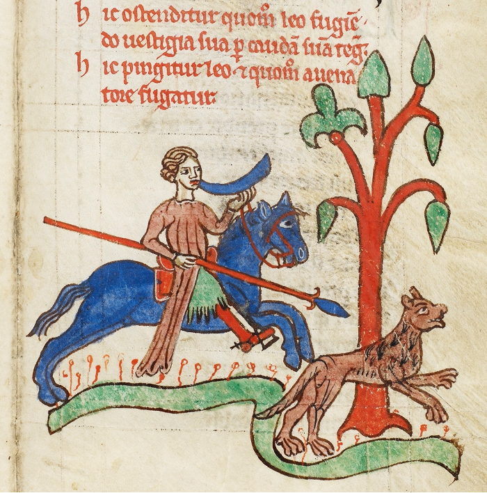 An illumination of a hunter chasing a lion in Kongelige biblioteket, GKS 3466 8°, f. 8r.